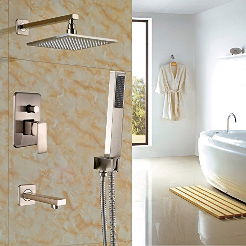 Rozin Bathroom 3-way Mixing Valve 12-inch Rainfall Shower Set Handheld Spray + Tub Spout Tap Brushed Nickel 60%OFF