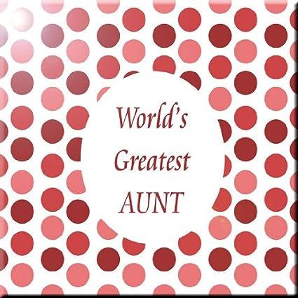 Rikki Knight 6 x 6 Worlds Greatest Aunt Pink Polka Dot Design Ceramic Art Tile