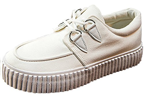 Minetom Women Girls Leisure Canvas Shoes Casual Lace-Up Platform Shoes Pantshoes Low-Top Sneaker White EZWE1WNB