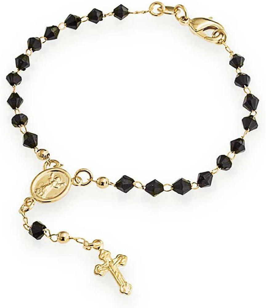 Bling Jewelry Abalorios Cristal Negro Madre Virgen María Crucifijo Rosario Religiosa Latón Chapado En Oro DEK Pulsera Mujer 7 Pulg.