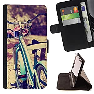 - Queen Pattern FOR Apple Iphone 5C /La identificaci????n del cr????dito ranuras para tarjetas tir????n de la caja Cartera de cuero cubie - bicycle blue vignette hipster bike sun