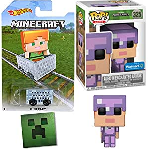Minecraft Exclusive Funko Alex Figure in Enchanted Armor with Sword Pop! Games Series Exclusive Purple Vinyl + Hot Wheels Minecart Car & Foil Sticker Bundle
