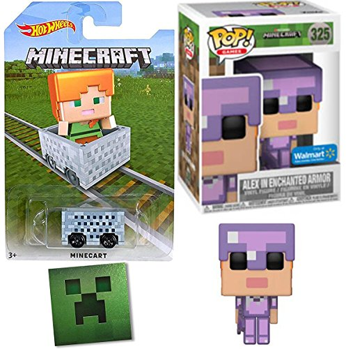 Funko Minecraft Exclusive Alex Figure in Enchanted Armor with Sword Pop! Games Series Exclusive Purple Vinyl + Hot Wheels Minecart Car & Foil Sticker Bundle]()