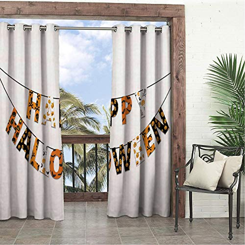 Linhomedecor Garden Waterproof Curtains Halloween Happy Halloween Banner Greetings Pumpkins Skull Cross Bones Bats Pennant Orange Black White Porch Grommets Backdrop Curtains 108 by 72 inch ()