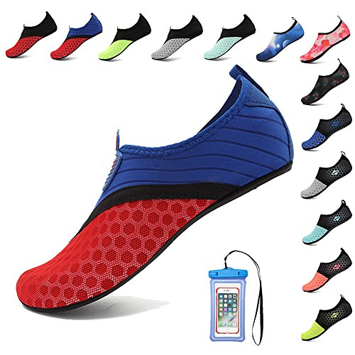 HooyFeel Breathable Water Shoes for Women Men Quick Dry Aqua Beach Shoes Barefoot Skin Shoes with Phone Waterproof Bag Superman