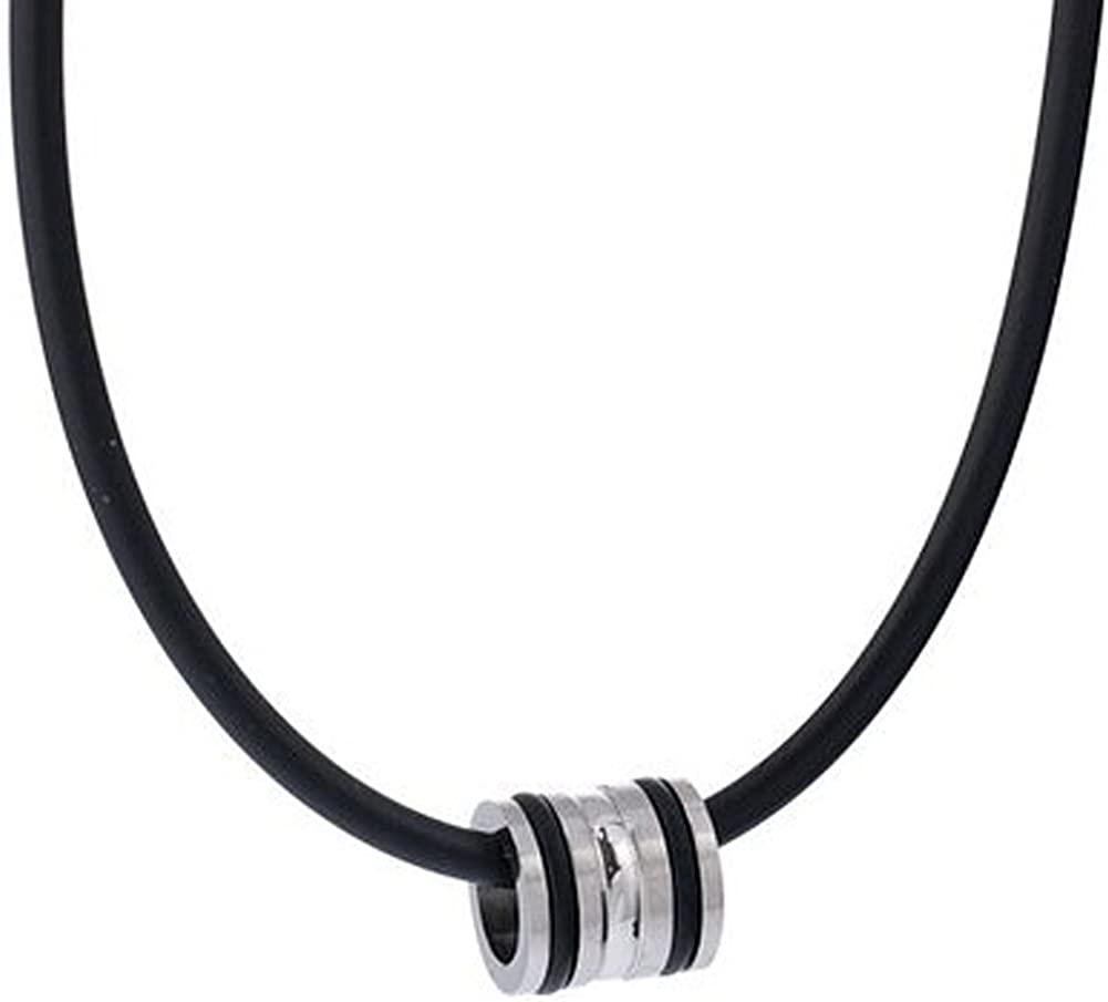 DonDon Collar de Cuero con Colgante de Acero Inoxidable y Anillos de Caucho en Bolsa de Terciopelo de Color Negro