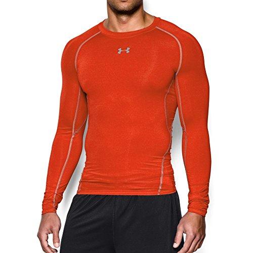 Under Armour Men's HeatGear Armour Long Sleeve Compression Shirt, Dark Orange /Steel, Large - Orange Wordmark T-shirt