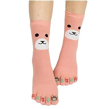 maedchen Cute Bear fuenf Calcetines de cinco dedos fuenf dedos de Caricatura de calcetines 1 par rosa rosa: Amazon.es: Deportes y aire libre