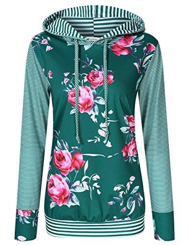 Women Floral Print Striped Pullover Long Sleeve Hoodie Hooded Sweatshirt Green L
