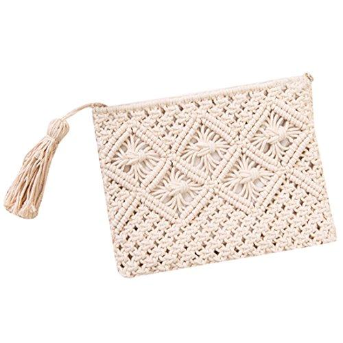 QIYUN.Z Weinlese Troddelhandtaschen Strohwebart Beutelstrand Käufer Häkelarbeit Handtasche Weiß ovLBwjNU