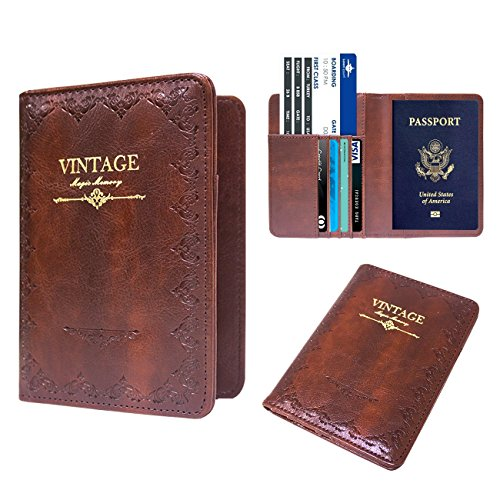 Large Passport Case - WALNEW Passport Holder Cover RFID Blocking Case Travelling Passport Cards Carrier Wallet Case (Coffe)