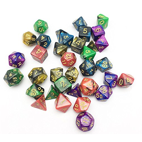 SmartDealsPro-5-x-7-Die-Series-Two-Colors-Dungeons-and-Dragons-DND-RPG-MTG-Table-Games-Dice-with-FREE-Pouches
