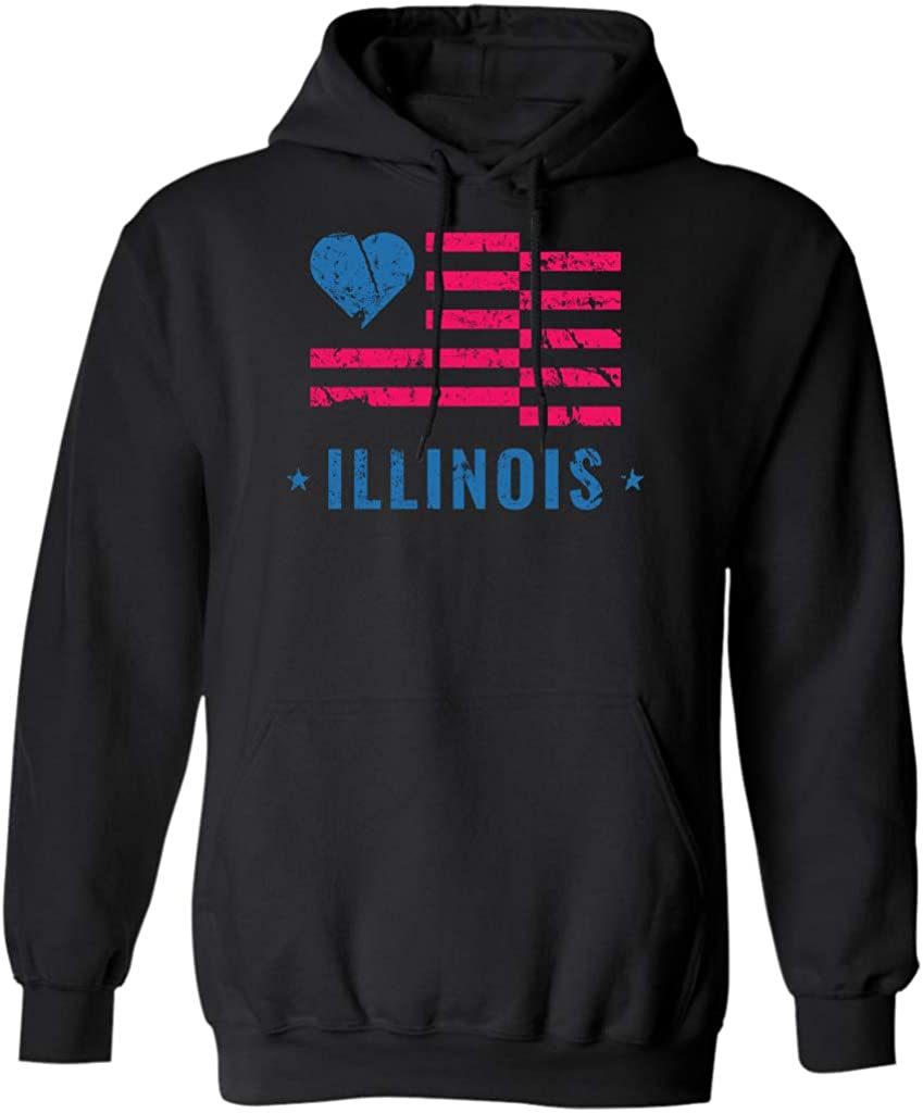 B07G7DN356 I Love Illinois Home State Flag,Heart,Proud US Gift,Pride Hoodie 512B6l7e0t-L