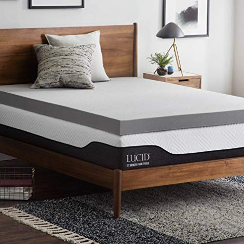 (Lucid 4 Inch Bamboo Charcoal Memory Foam Mattress Topper - King)