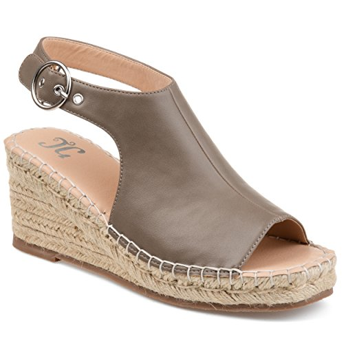 Journee Collection Crew Womens Wedge Sandals Taupe, 7 Regular US