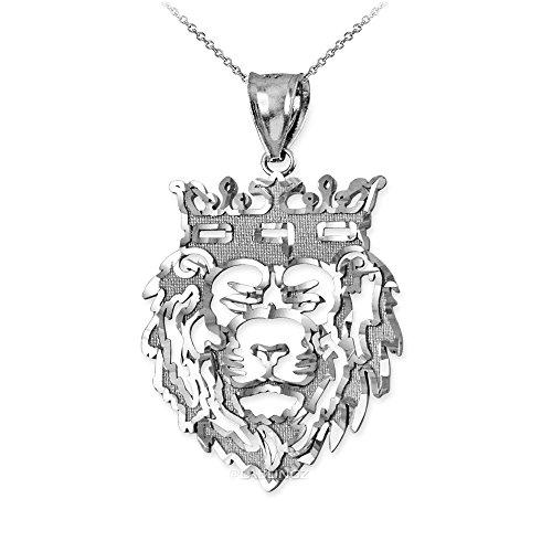 Hip-Hop Jewelry by LA BLINGZ 10K White Gold Lion King DC Charm Necklace (16.0) by Hip-Hop Jewelry by LA BLINGZ
