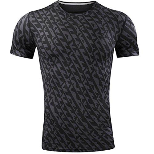 deportivo camisetas hombres corto de Negro entrenamiento secos profesional camisetas patrón para rápida OverDose top qw18fC