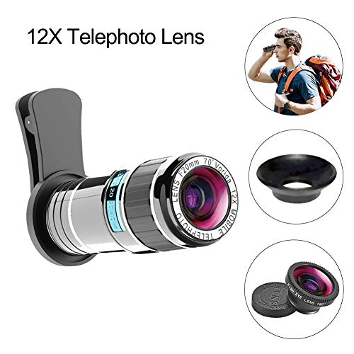 Vorida Phone Camera Lens Cell Phone Camera Lens 2-in-1 Kit 12X Telephoto Lens + 180°Fisheye Lens Compatible for iPhone Xs Max X/8/7/6 Samsung Google etc.