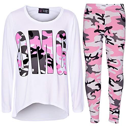 Girls Top Kids Designer's OMG Camouflage Print Shirt Tops & Legging Set 7-13 Yr (11 Year Old Girls Crop Tops)