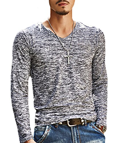 Men's Slim Fit V-Neck Long Sleeve T-Shirt Casual Tees Tops (US-M, Black)
