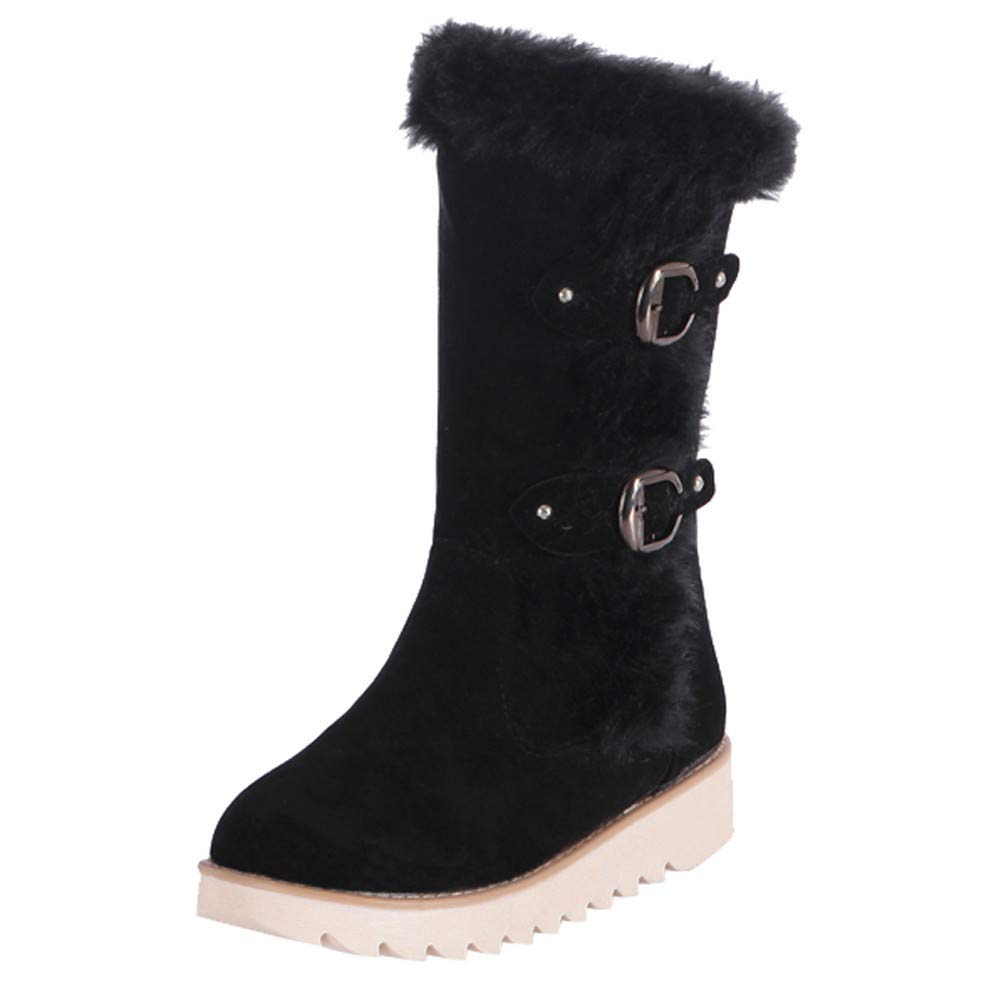 Botas Cortas Impermeables a Prueba de Nieve de Invierno de Felpa Corta LILICAT®, Zapatos de Gamuza con Punta Redonda y Hebilla de Gamuza para Mujer Calientes Botas de Nieve de Tubo Medio