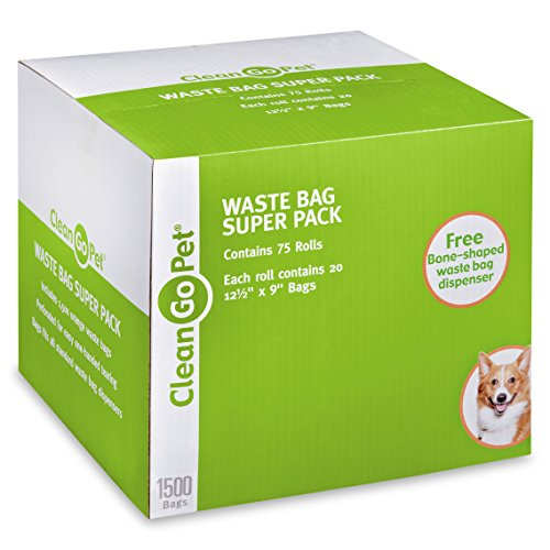 Clean Go Pet Dog Waste Bags, Super Pack, 75 Perforated Rolls, Total of 1500 Durable, Leakproof Poop Bags