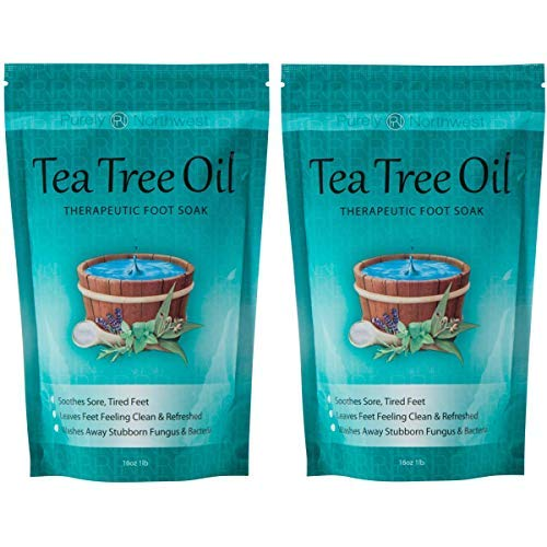 Tea Tree Oil Foot Soak With Epsom Salt, Helps Soak Toenail Fungus, Athletes Foot & Stubborn Foot Odor - Softens Calluses & Soothes Sore Tired Feet -16oz (Pack of 2)