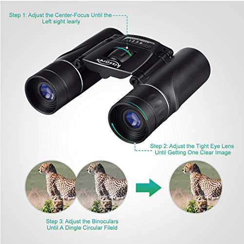 Kissarex Adults Compact Travel Binoculars: 8x21 Mini Small Size Lightweight Best Outdoor Theatre Tactical Hiking Concert Sports Camping Low-Light Night Vision Waterproof