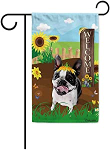 BAGEYOU Welcome Summer Sunflower Dog Garden Flag Boston Terrier Playing on a Country Farm Butterfly Flowers Decor Banner for Outside 12.5x18 Inch Print Double Sided