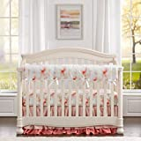 Liz and Roo Pink Floral Bumperless Crib Bedding 4 Piece Set Double Ruffle Skirt
