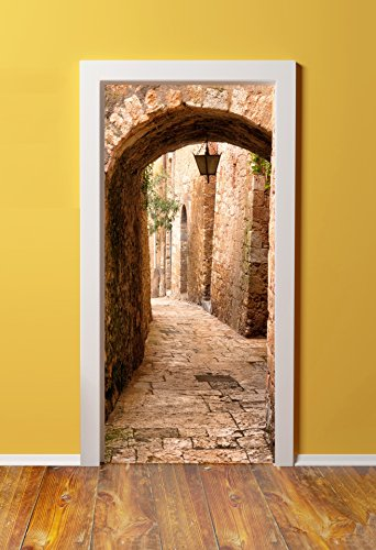 - Windowpix DoorPix 36x80 / 36 x 80 3D Door Mural Wrap Glossy Bubble Free Sticker Jerusalem Stone Passage to The Western Wall - Peel and Stick - Easy-to-Clean, Durable
