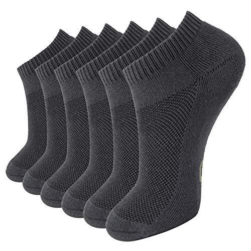 (MD Unisex Premium Bamboo Socks Super Soft Moisture wicking and Anti Odor Low-cut,6 Pack 6Grey9-11)