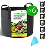 SYOURSELF 6 Pack 3/5/7/10 Gallon Grow Bags, Aeration Fabric Pots with Handles-400GSM Non-woven Durable Thickened Plant Containers for Nursery Garden Home Vegetable, Fruit, Tree+6 Waterproof Labels(Black)