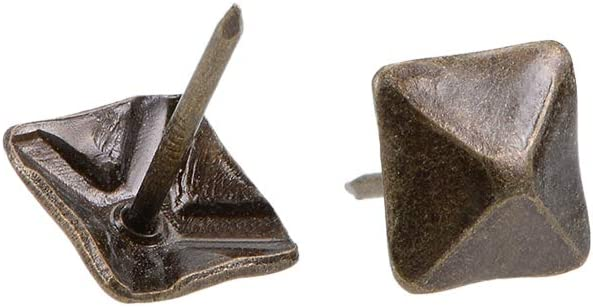 uxcell Upholstery Nails Tacks 12mm Square Head Antique Furniture Nails Pins Bronze Tone 20 Pcs