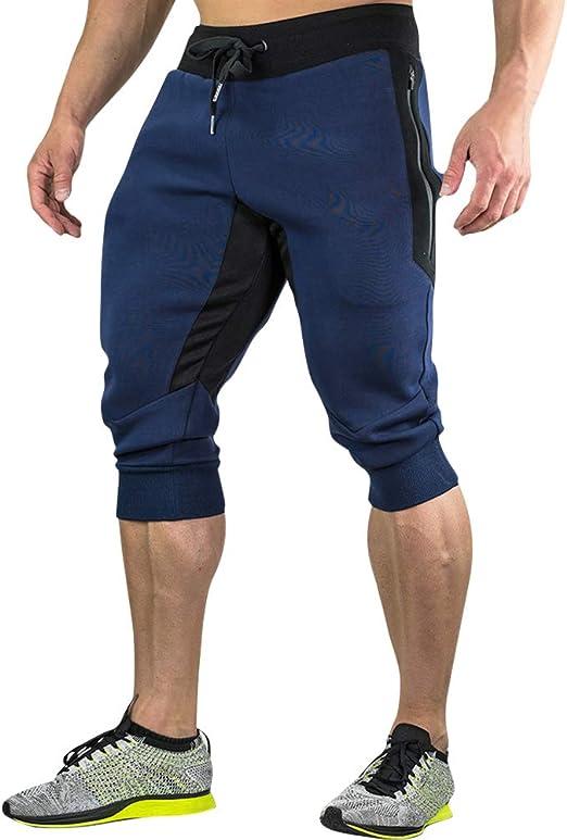 Mitiy Breathable Below Knee Pants Mens Cotton Casual Shorts 3//4 Jogger Waistband Sport Training Yoga Capri Pant