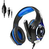 Gaming Headset with Volume Control USB 3.5mm Noise Cancelling Earphones Built-in Mic Stereo Bass LED Light (Blue)