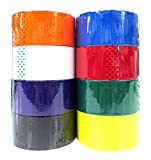 8 Colored Packing Tape Set (Black, White, Orange, Yellow, Green, Purple, Red, Blue) 1.88'' x 164 Feet per Roll