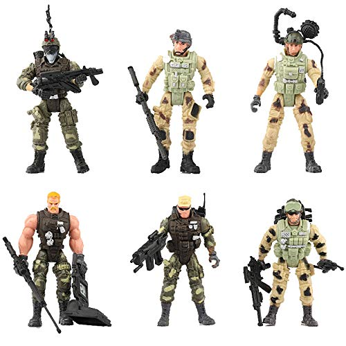 Easy 99 3.9 inch Elite Heroes Model Soldiers Action Figures with Special Weapons Plastic Military Toys Gifts for Kids, Set of 6
