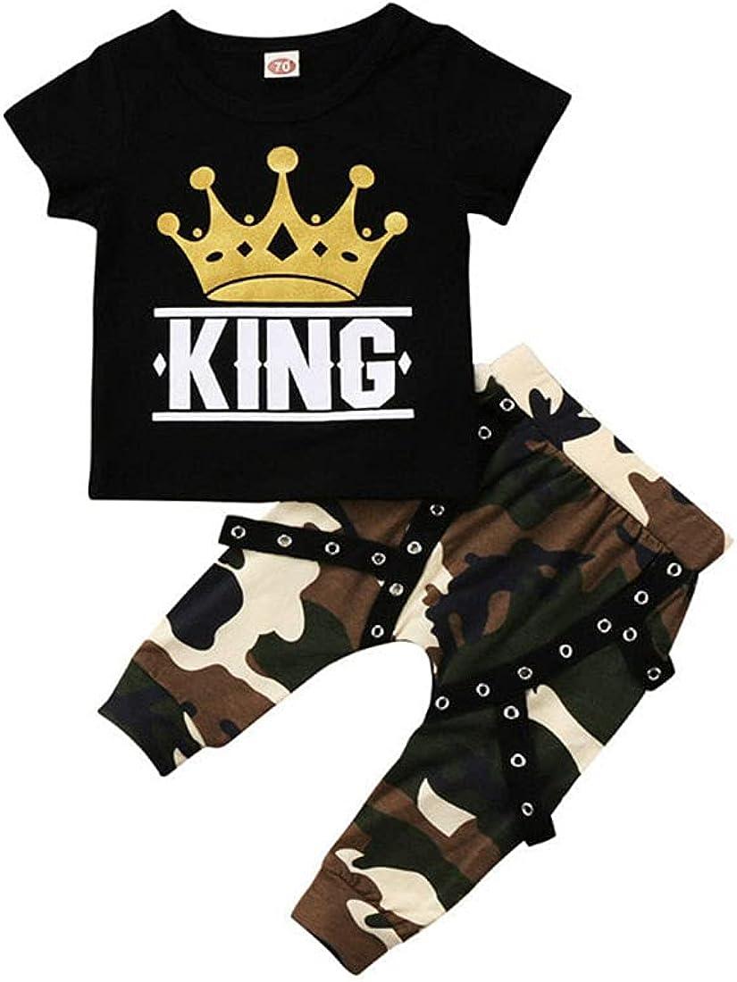 2 Piece Baby Boy Clothing Set – Short Sleeve T Shirt & Camo Pants Outfit Set -5YRS Black