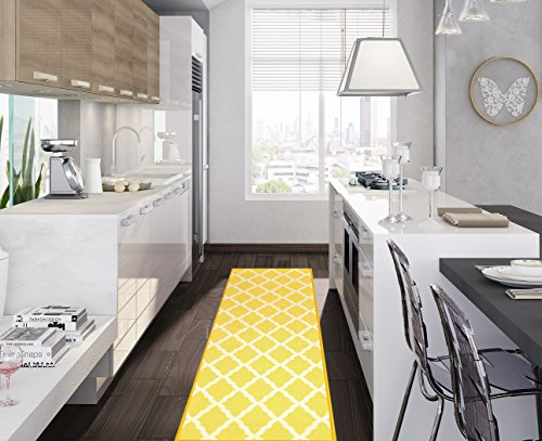 Ottomanson Glamour Collection Contemporary Moroccan Trellis Design Lattice Runner Rug with (Non-Slip) Kitchen and Bathroom Mat, Yellow, 20