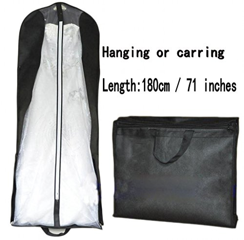 Beilite Wedding Dress Garment Bag Dust Cover Storage Travel Bag Black 70 inches ()