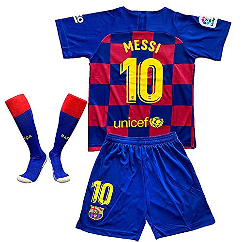 Messi #10 Barcelona Home 2019-2020 Season Kids Youth Soccer Jersey & Shorts & Socks (11-12Years/Size 26) Red/Blue ()