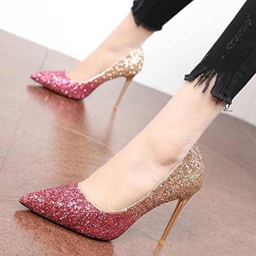 Spring Purple Sequins Match KPHY Heels Sexy Fine Gradient High Shoes Tide New 38 Single Golden With Nightclubs All Shoes dtqqR