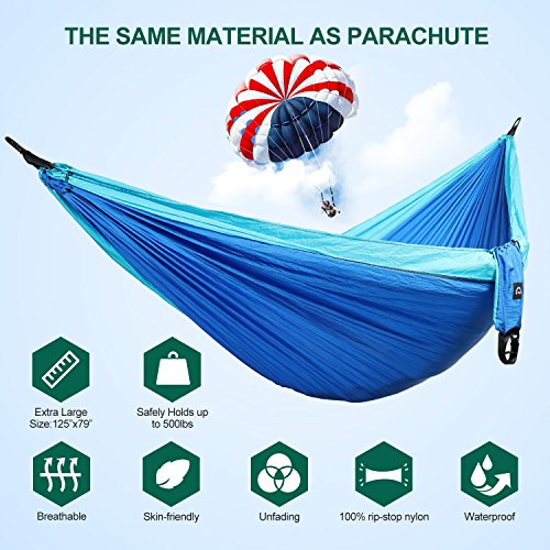 Camping Hammock, Portable Double Hammock with Tree Straps ...