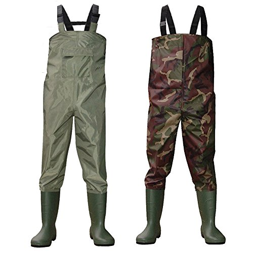 Kglobal waterproof fishing waders and boots pvc chest for Fishing waders amazon