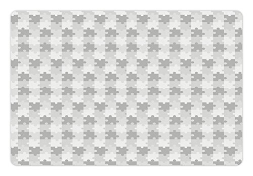 Lunarable Grey Pet Mat for Food and Water, Puzzle Inspired Fractal Lines Game Jigsaw Parts Hobby Activity Themed Print, Rectangle Non-Slip Rubber Mat for Dogs and Cats, Light Grey White (Themed Jigsaw)