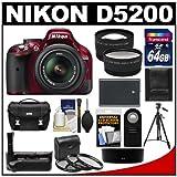 Nikon D5200 Digital SLR Camera and 18-55mm G VR DX AF-S Zoom Lens (Red) with 64GB Card + Case + Battery and Grip + Tripod + Tele/Wide Lenses + Remote + Filters Kit, Best Gadgets