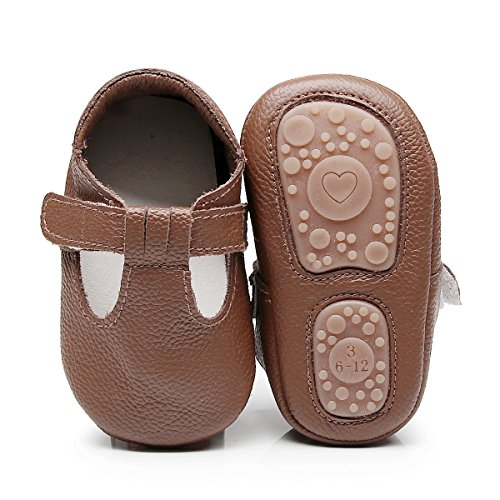HONGTEYA Baby Boys Girls Fox Mary Jane Sandals Moccasins Shoes Rubber Sole Crib Toddler Leather Walking Prewalker (18-24 Months/US 7.5/5.71'' / See Size Chart, Brown) -
