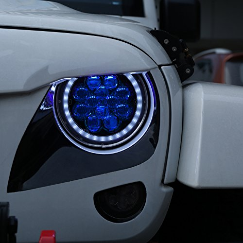 Opar 7 inch LED Halo Headlights with Blue DRL Angel Eyes for 1997-2018 Jeep Wrangler TJ JK ...