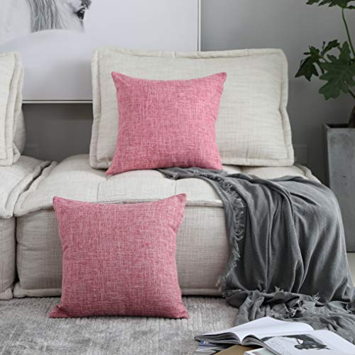 Kevin Textile Thanksgiving Gift Decorative Lined Linen Soft Square Throw Cushion Covers Toss Pillow Shams for Teen Girls/Bed, Set of 2, 18 x 18, Baby Pink